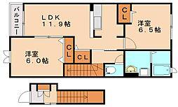 ヌーベルシンワA[2階]の間取り