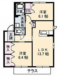 ハイツMINORU B棟[1階]の間取り