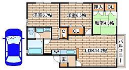 兵庫県神戸市須磨区車字梨川の賃貸アパートの間取り