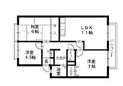 福岡県福岡市早良区四箇6丁目の賃貸アパートの間取り
