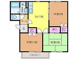 愛媛県松山市星岡2丁目の賃貸アパートの間取り
