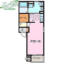 Libre 1階ワンルームの間取り