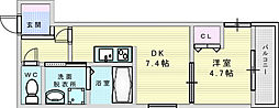 フジパレス江坂町 2階1DKの間取り