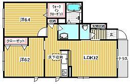大阪府茨木市下穂積2丁目の賃貸アパートの間取り