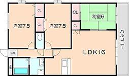 桜塚マンション[201号室]の間取り