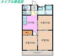 コーポ桑部 B棟[1階]の間取り