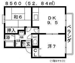 ALLEY島泉131(アレイ島泉131)[D201号室号室]の間取り