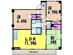 愛媛県松山市和泉南1丁目の賃貸マンションの間取り