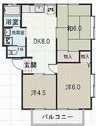 西江コーポA[1階]の間取り
