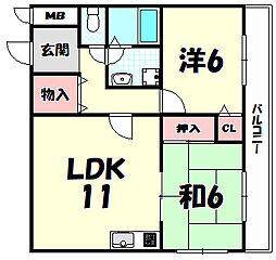 兵庫県神戸市灘区大内通1丁目の賃貸アパートの間取り