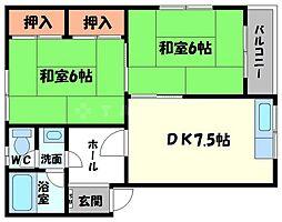 大阪府茨木市上穂積3丁目の賃貸マンションの間取り
