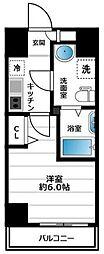 グランヴァン横濱南 8階1Kの間取り