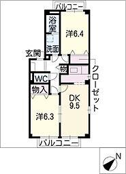 シェルブランシェ[2階]の間取り