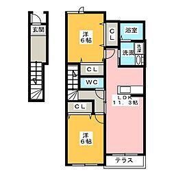 チェリ−ブロッサムB[2階]の間取り