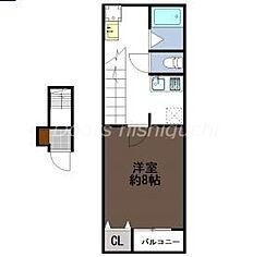 JR山陽本線 東岡山駅 徒歩10分の賃貸アパート 2階1Kの間取り