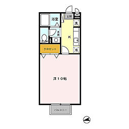 茨城県つくば市筑穂3丁目の賃貸アパートの間取り