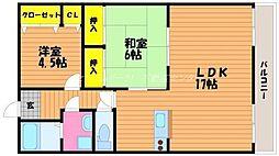 岡山県岡山市南区浜野3丁目の賃貸マンションの間取り