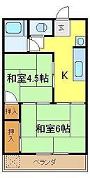 埼玉県新座市栄2丁目の賃貸アパートの間取り