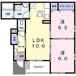 上野町アパート B棟[0103号室]の間取り