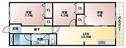 大阪府大阪市平野区瓜破4丁目の賃貸マンションの間取り