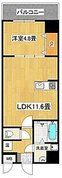 泉北高速鉄道 深井駅 徒歩4分の賃貸マンション 3階1LDKの間取り