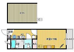 レオパレス新堂[2階]の間取り
