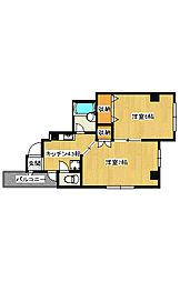 今泉2丁目 2K アパート[4階]の間取り