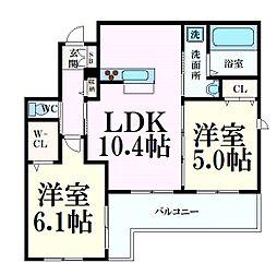 阪急神戸本線 六甲駅 徒歩8分の賃貸アパート 2階2LDKの間取り