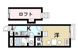 近鉄京都線 山田川駅 徒歩12分の賃貸アパート 1階1Kの間取り