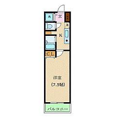 東京メトロ丸ノ内線 新宿三丁目駅 徒歩3分の賃貸マンション 3階1Kの間取り