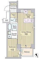 東京メトロ千代田線 明治神宮前駅 徒歩6分の賃貸マンション 4階1LDKの間取り