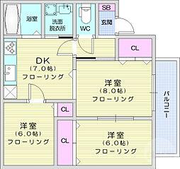 メゾンハッピネス 2階3DKの間取り