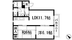 パークサイド安倉[2階]の間取り