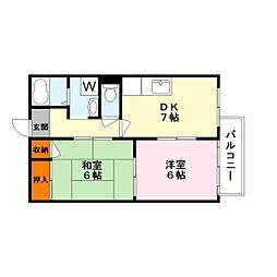 滋賀県草津市平井2丁目の賃貸アパートの間取り