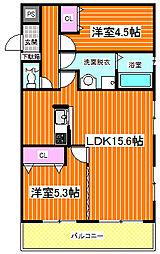 Osaka Metro長堀鶴見緑地線 横堤駅 徒歩8分の賃貸マンション 5階2LDKの間取り