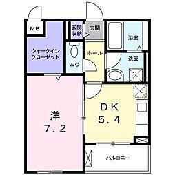 長野西アパートB[0202号室]の間取り