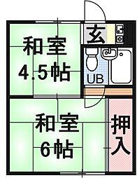北大路アパート[102号室号室]の間取り