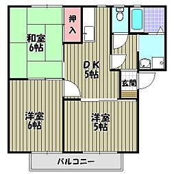 パークハイツC棟[2階]の間取り