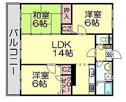 ミワパルク東平尾[1階]の間取り