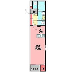 エスポワール Aya III 3階1Kの間取り