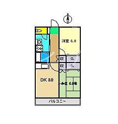 コーポレッドハット[3階]の間取り