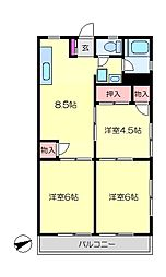 JR横須賀線 新川崎駅 徒歩16分の賃貸マンション 3階3LDKの間取り