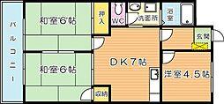 シャトレ吉野町[702号室]の間取り