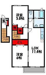 レイクサイド遠賀[2階]の間取り