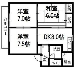 静岡県浜松市中区高丘東5丁目の賃貸アパートの間取り