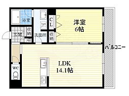 近鉄大阪線 五位堂駅 徒歩1分の賃貸マンション 1階1LDKの間取り