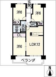 グランドメゾン桑名壱番館1305[13階]の間取り