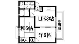 兵庫県宝塚市山本中3丁目の賃貸アパートの間取り