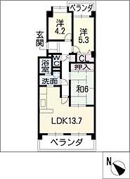 ユニーブル緑地公園 405号室[4階]の間取り