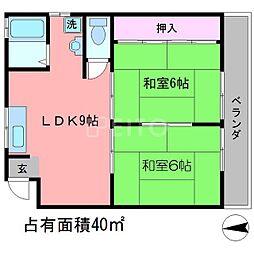 ビューハイツ一乗寺[1階]の間取り